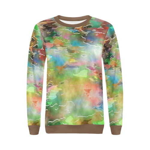 Watercolor Paint Wash All Over Print Crewneck Sweatshirt for Women (Model H18)