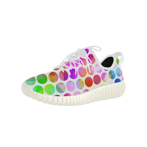 Watercolor Polka Dots Grus Women's Breathable Woven Running Shoes (Model 022)