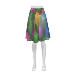 Geometric Rainbow Cubes Texture Athena Women's Short Skirt (Model D15)