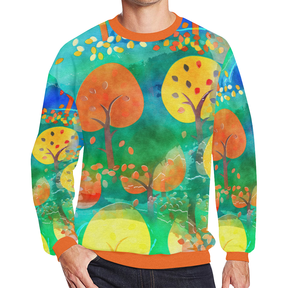 Watercolor Fall Forest Men's Oversized Fleece Crew Sweatshirt (Model H18)