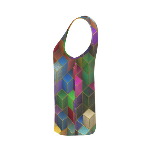 Geometric Rainbow Cubes Texture All Over Print Tank Top for Women (Model T43)