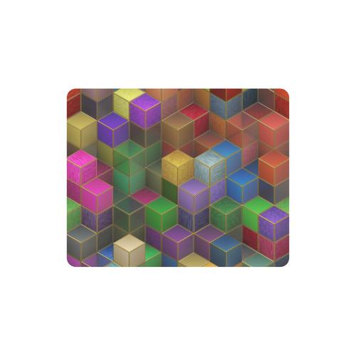Geometric Rainbow Cubes Texture Rectangle Mousepad