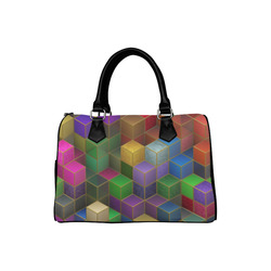Geometric Rainbow Cubes Texture Boston Handbag (Model 1621)
