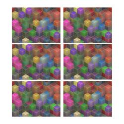 Geometric Rainbow Cubes Texture Placemat 14'' x 19'' (Six Pieces)