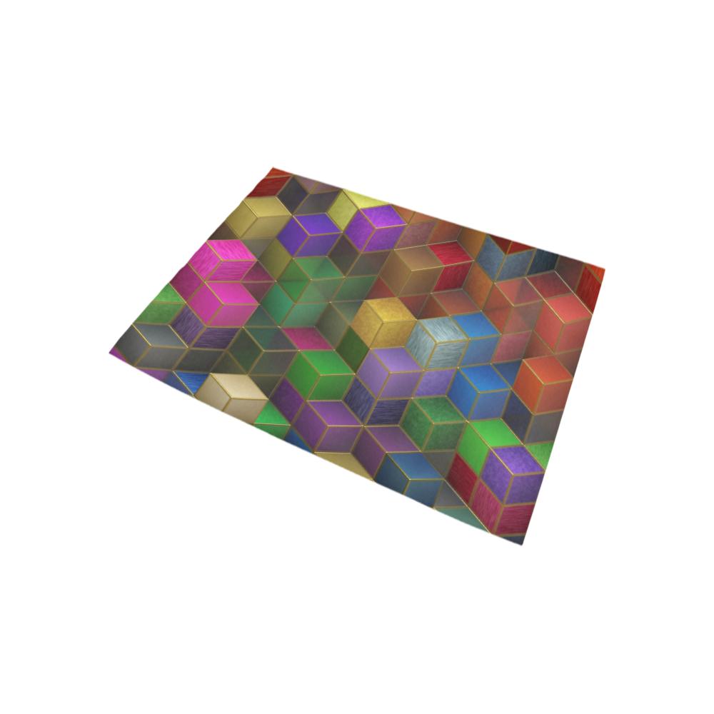 Geometric Rainbow Cubes Texture Area Rug 5'3''x4'
