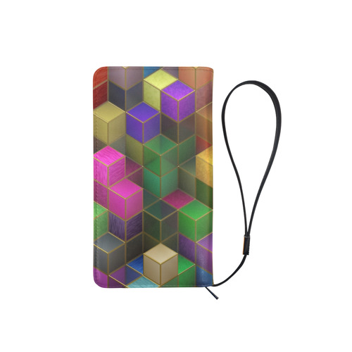 Geometric Rainbow Cubes Texture Men's Clutch Purse (Model 1638)