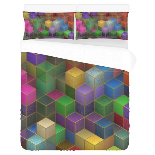 Geometric Rainbow Cubes Texture 3-Piece Bedding Set