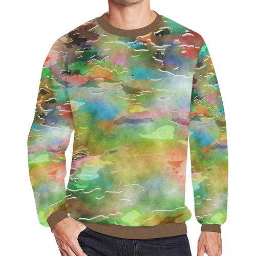 Watercolor Paint Wash Men's Oversized Fleece Crew Sweatshirt (Model H18)