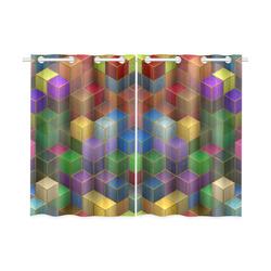 "Geometric Rainbow Cubes Texture Kitchen Curtain 26"" X 39"" (Two Piece)"