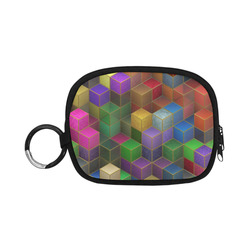 Geometric Rainbow Cubes Texture Coin Purse (Model 1605)