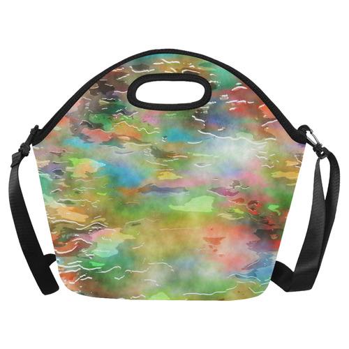 Watercolor Paint Wash Neoprene Lunch Bag/Large (Model 1669)