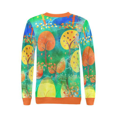 Watercolor Fall Forest All Over Print Crewneck Sweatshirt for Women (Model H18)