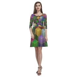 Geometric Rainbow Cubes Texture Tethys Half-Sleeve Skater Dress(Model D20)