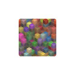 Geometric Rainbow Cubes Texture Square Coaster