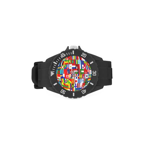 International Travel Flag World Sport Rubber Strap Watch(Model 301)