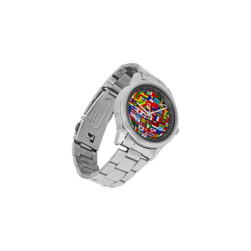 International Travel Flag World Men's Stainless Steel Watch(Model 104)