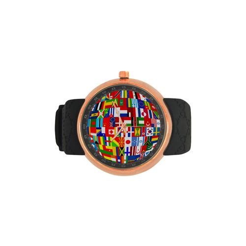 International Travel Flag World Men's Rose Gold Resin Strap Watch(Model 308)