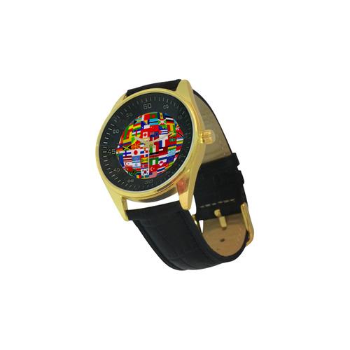 International Travel Flag World Men's Golden Leather Strap Watch(Model 210)