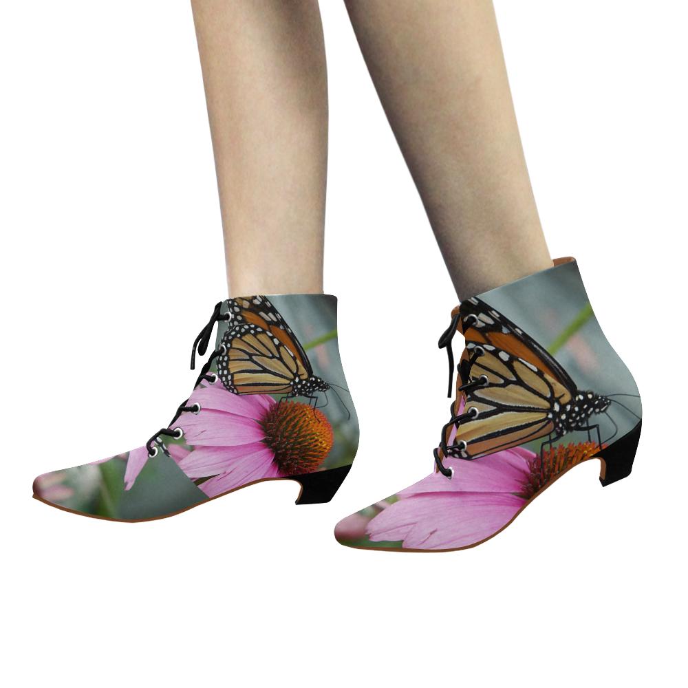 Monarch Butterfly Women's Pointed Toe Low Heel Booties (Model 052)