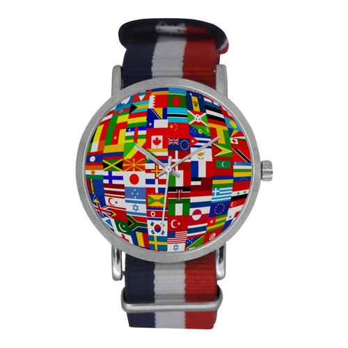 International Travel Flag World Nylon Strap Watch (Model 215)
