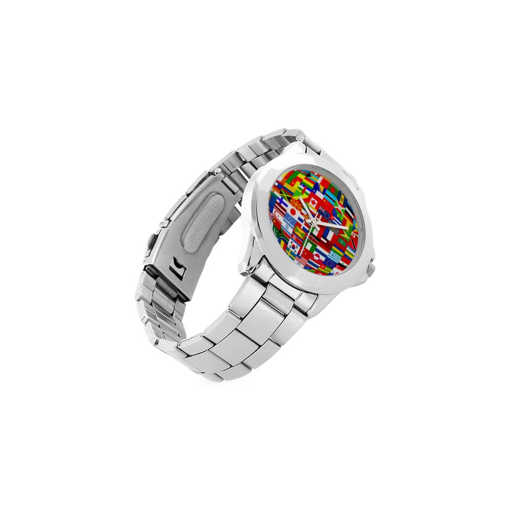 International Travel Flag World Unisex Stainless Steel Watch(Model 103)