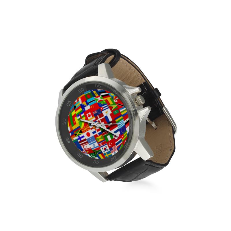 International Travel Flag World Unisex Stainless Steel Leather Strap Watch(Model 202)