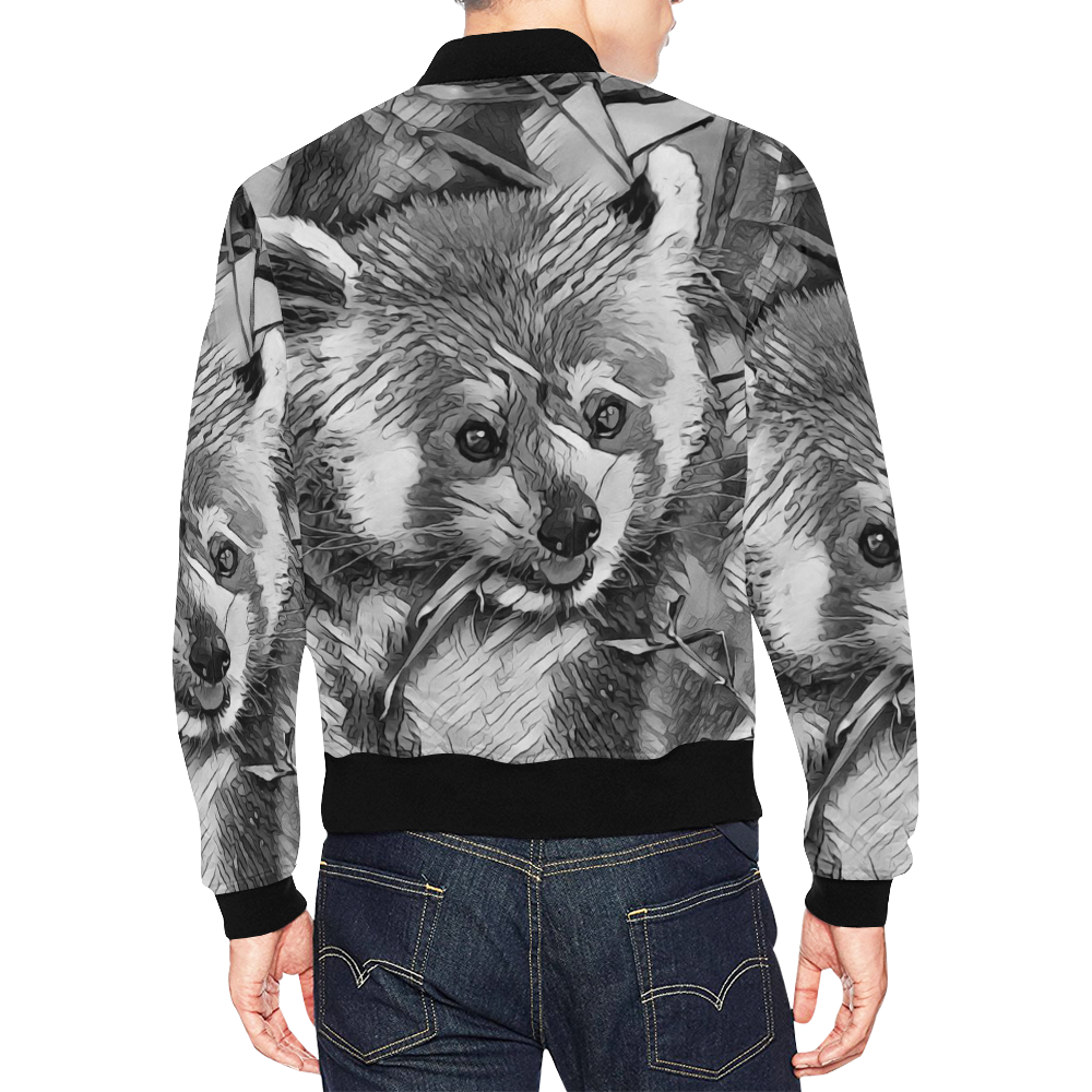 AnimalArtBW_RedPanda_20170703_by_JAMColors All Over Print Bomber Jacket for Men (Model H19)
