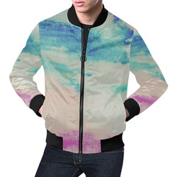 Washed in Blue and Pink All Over Print Bomber Jacket for Men (Model H19)