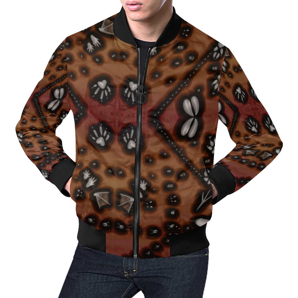 Footprints from several animals All Over Print Bomber Jacket for Men (Model H19)