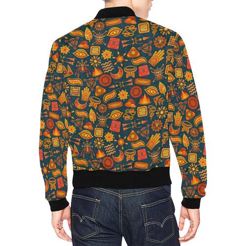 Ethno Pattern Green Orange 2 All Over Print Bomber Jacket for Men (Model H19)