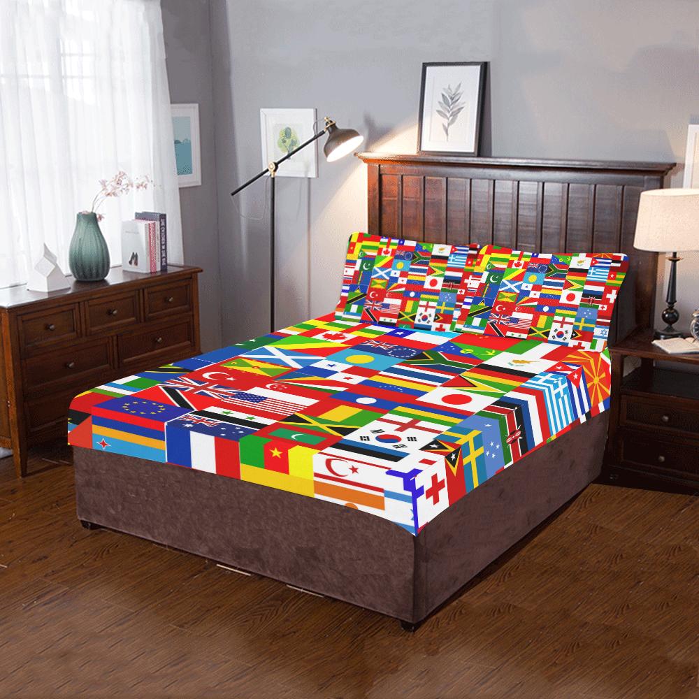 World Flag Montage 3-Piece Bedding Set