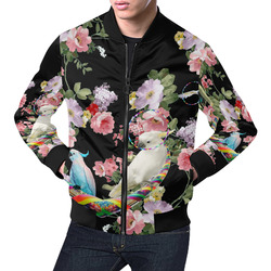 Cockatoos and Hoops All Over Print Bomber Jacket for Men (Model H19)