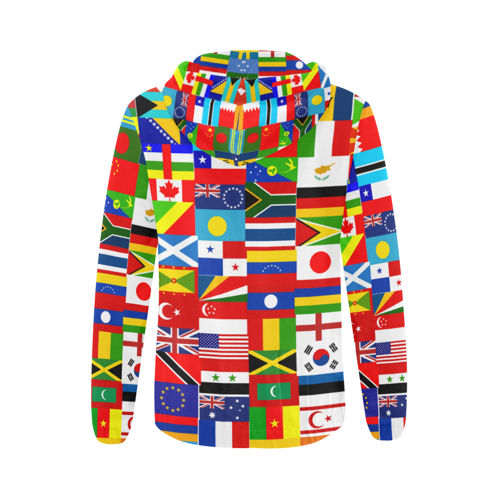 World Flag Montage All Over Print Full Zip Hoodie for Women (Model H14)