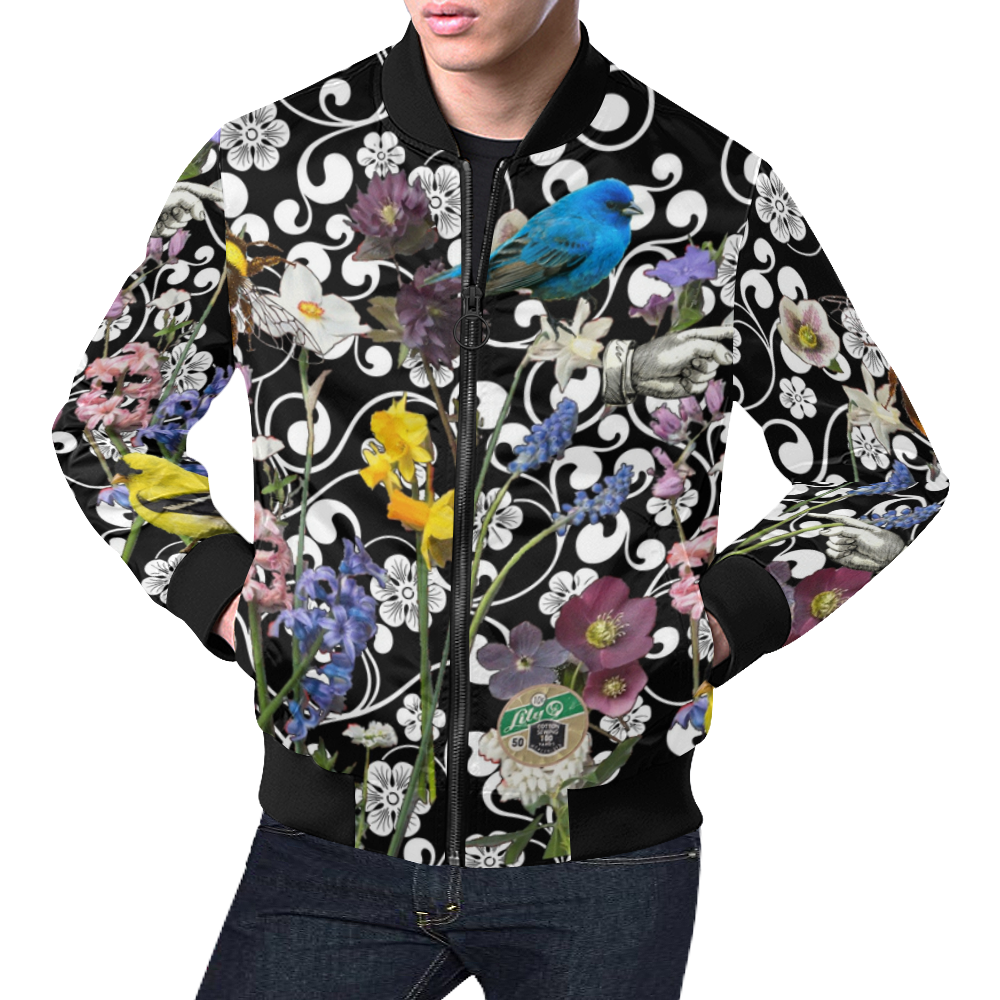 Birds and Bees in the Spring Garden All Over Print Bomber Jacket for Men (Model H19)
