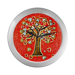 Watercolor Love Tree Silver Color Wall Clock