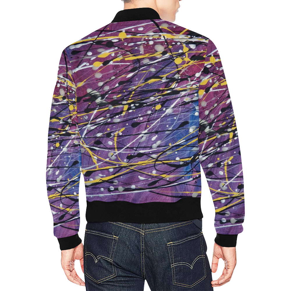 Galaxie Éclairante All Over Print Bomber Jacket for Men (Model H19)