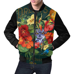 Purple Owl in the Nasturtiums All Over Print Bomber Jacket for Men (Model H19)