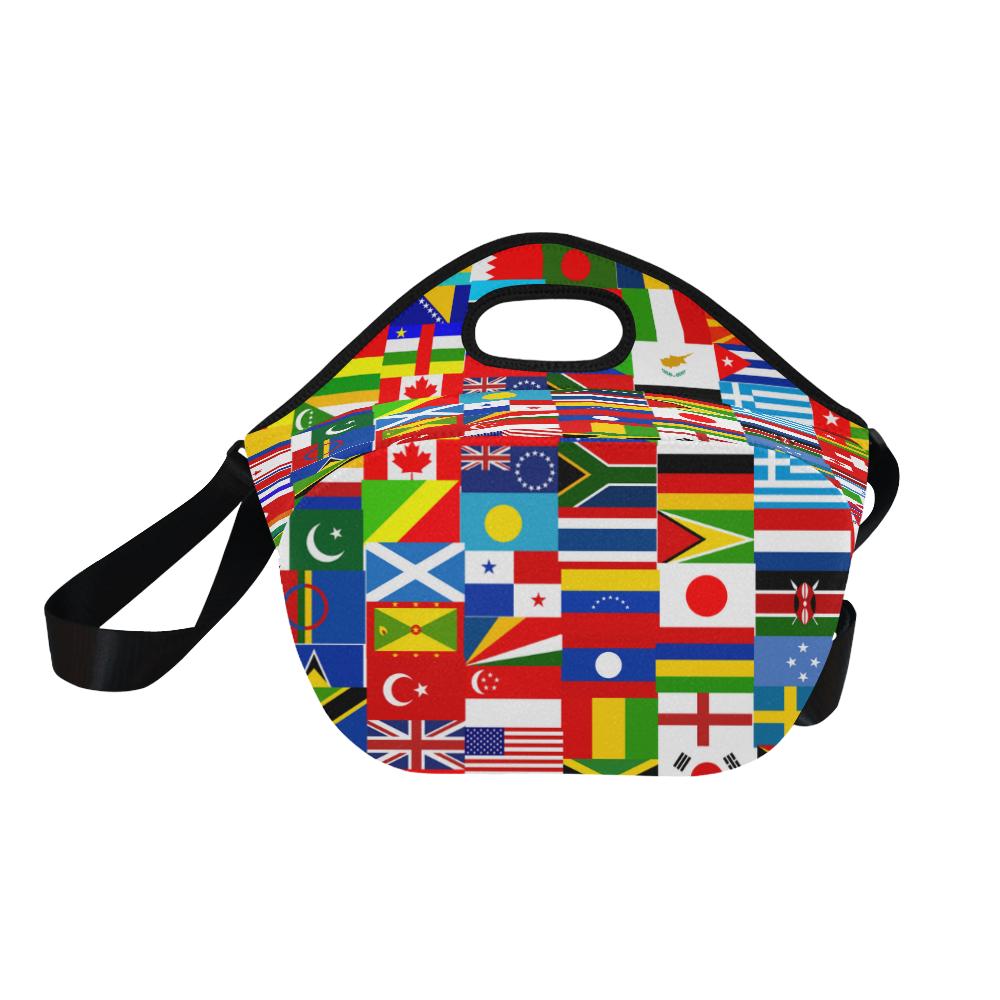 World Flag Montage Neoprene Lunch Bag/Large (Model 1669)