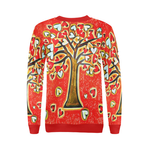 Watercolor Love Tree All Over Print Crewneck Sweatshirt for Women (Model H18)
