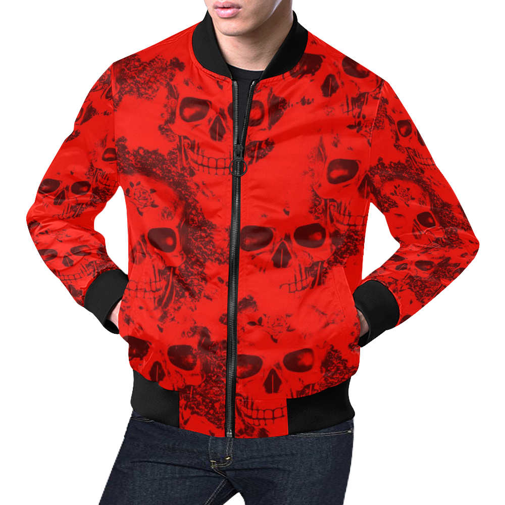 cloudy Skulls red by JamColors All Over Print Bomber Jacket for Men (Model H19)