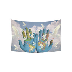 """Peace World Hands Doves Tapestry Cotton Linen Wall Tapestry 60""""x 40"""""""