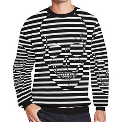 Awesome Skull Black & White Men's Oversized Fleece Crew Sweatshirt (Model H18)