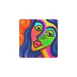 Abstract Fauvist Female Portrait Square Coaster