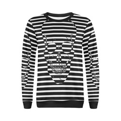 Awesome Skull Black & White All Over Print Crewneck Sweatshirt for Women (Model H18)