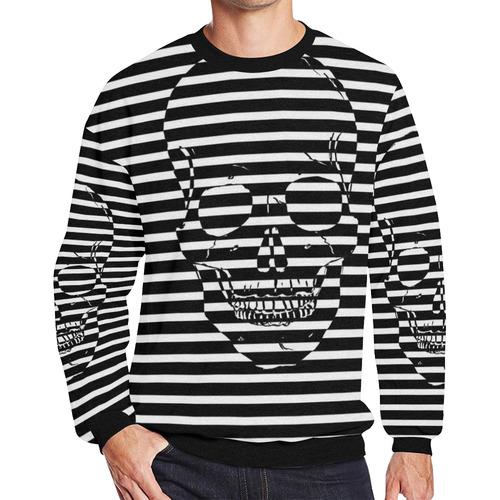Awesome Skull Black & White Men's Oversized Fleece Crew Sweatshirt/Large Size(Model H18)