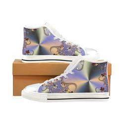 TWIGISLE Fractals with purple metallic shine High Top Canvas Women's Shoes/Large Size (Model 017)