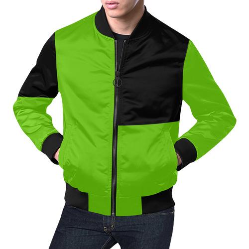 Lime Green and Black All Over Print Bomber Jacket for Men (Model H19)