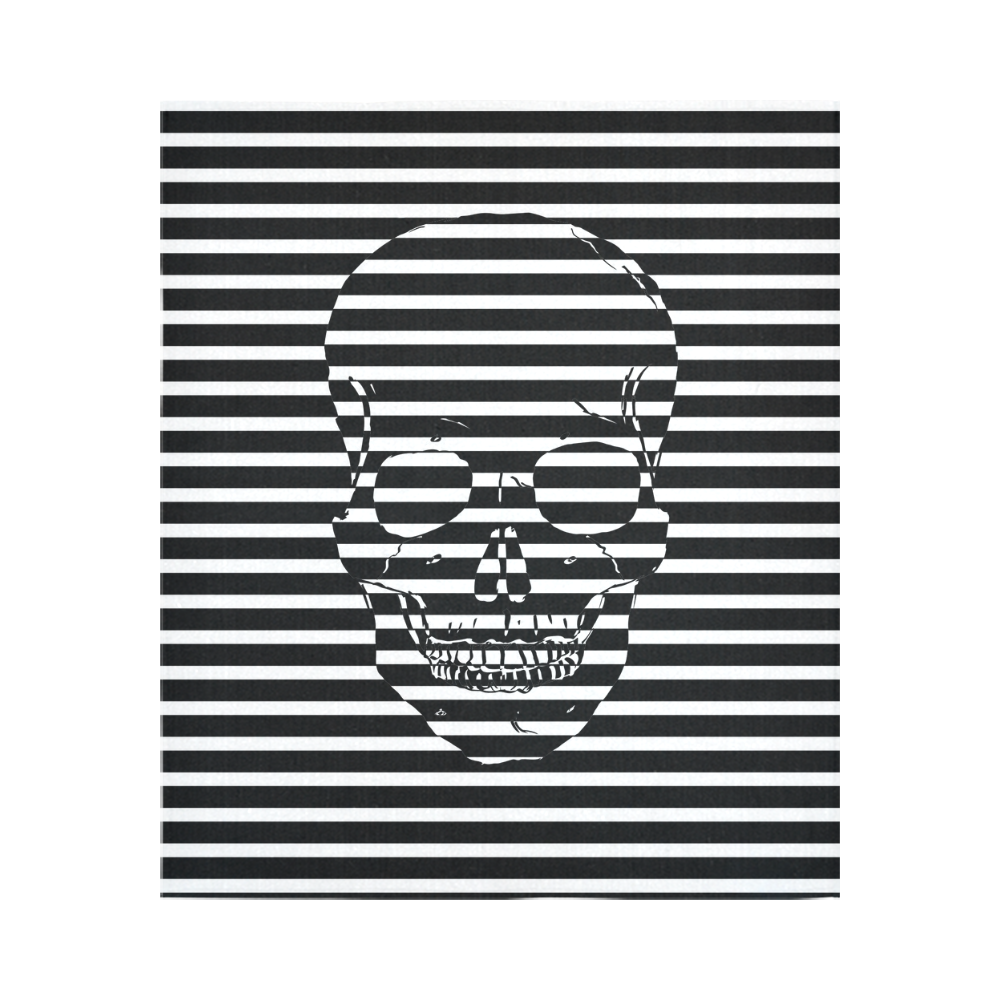 """Awesome Skull Black & White Cotton Linen Wall Tapestry 51""""x 60"""""""