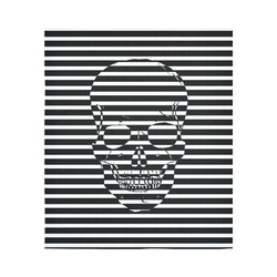 "Awesome Skull Black & White Cotton Linen Wall Tapestry 51""x 60"""