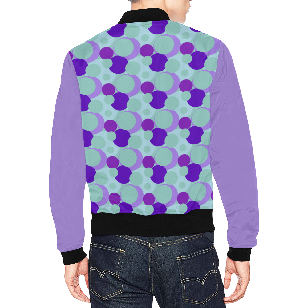 Teal and Purple Bubble Pop All Over Print Bomber Jacket for Men (Model H19)